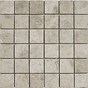 Wickes Silver Shadow Tumbled Mosaic Tile (50 x 50mm) 305 x 305mm