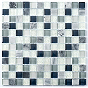 Wickes Blue Blanco Glass Mix Mosaic Tile 300 x 300mm