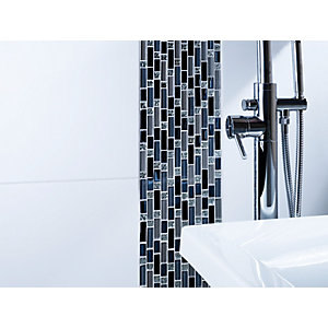 Wickes Silver Glass Blue Mix Random Length Mosaic Tile 260 x 280mm