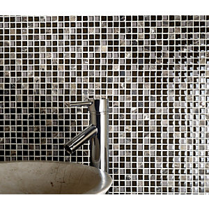 Wickes Brown Glass Emperador Mix Mosaic Tile 300 x 300mm