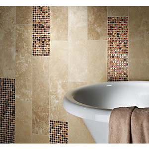 Wickes Red Stone Optic Mix Mosaic Tile 300 x 300mm