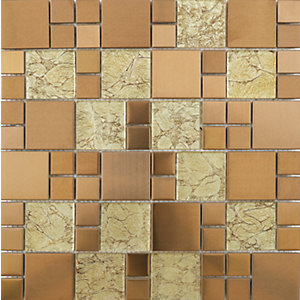Wickes Rose Gold Modular Mosaic Tile 300 x 300mm