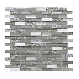 Wickes Silver Moon Brick Mosaic Tile 305 x 305mm