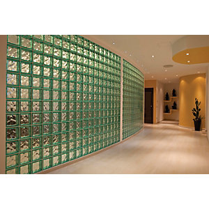 Wickes Soft Shades Glass Block Green 190 x 190 x 80mm
