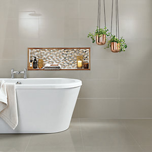 Wickes Infinity Ivory Polished Porcelain Wall and Floor Tile 600 x 600mm