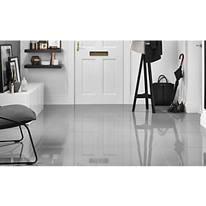 Wickes Infinity Grey Polished Porcelain Tile 600 x 600mm Pack 3
