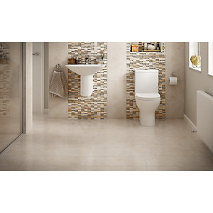 Wickes Brook Beige Glazed Porcelain Tile 300 x 600mm Pack 6