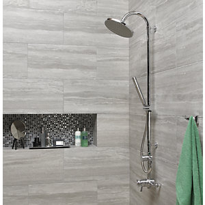 Wickes Everest Stone Porcelain Floor & Wall Tile 300 x 600mm Pack 6