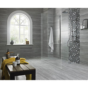 Wickes Everest Slate Porcelain Floor&wall Tile 300 x 600mm Pack 6