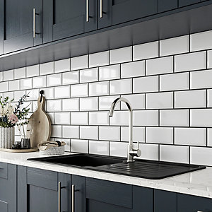 Wickes Bevelled Edge White Gloss Ceramic Wall Tile 200 x 100mm