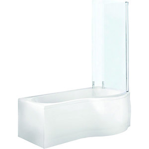 Wickes P Shaped Shower Bath End Panel White 700mm