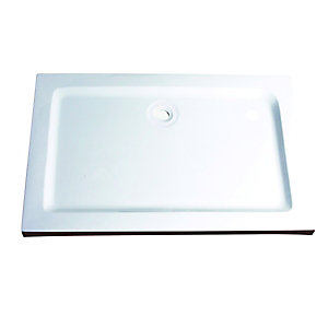 Wickes 40mm Stone Resin Rectangular Shower Tray White 1200x800mm