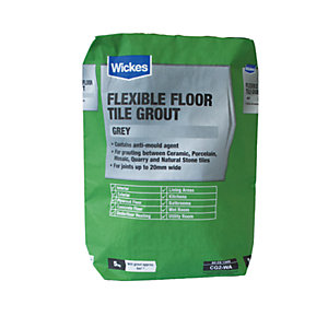 Wickes Flexible Floor Tile Grout Grey 5kg