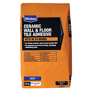 Wickes Ceramic Tile Adhesive Grey 12.5kg