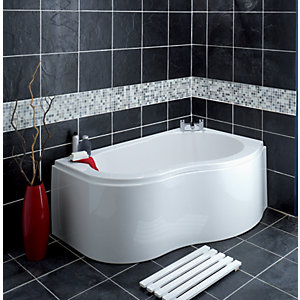 Wickes Wave Corner Bath Right Hand White 1500mm