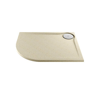 Wickes 25mm Cast Stone Resin Offset Quadrant Ultra Low Profile Shower Tray Right Hand Tan 1200x900mm