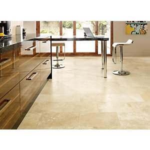 Wickes Beige Honed & Filled Travertine Wall & Floor Tile 305x457mm