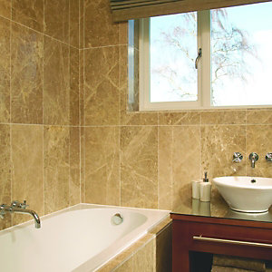 Wickes Dark Cappuccino Brown Polished Marble Floor Tile 305x610mm