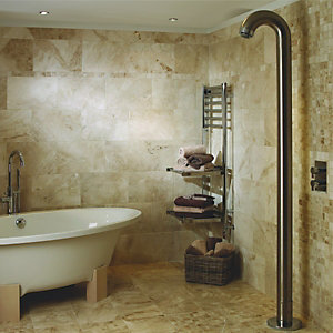 Wickes Light Cappuccino Beige Polished Marble Wall & Floor Tile 305x610mm