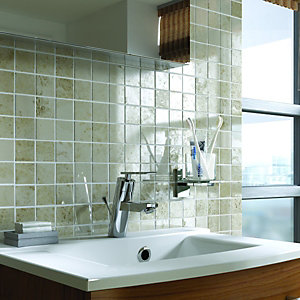 Wickes Light Cappuccino Beige Polished Marble Mosaic Tile 305x305mm