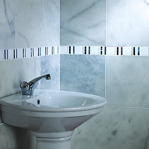 Wickes Carrara White Polished Marble Wall & Floor Tile 305x457mm