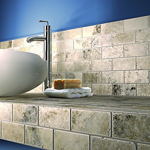 Wickes Silver Honed Travertine Mosaic Tile 305x305mm