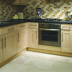Wickes Danielli Cream Brushed Marble Wall & Floor Tile 406x610mm