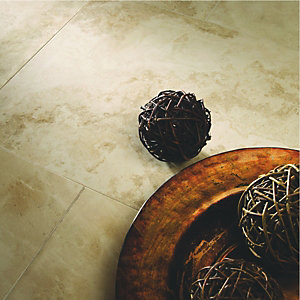 Wickes Applestone Cream Polished Limestone Wall & Floor Tile 406x610mm