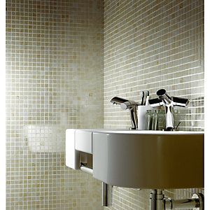 Wickes Applestone Cream Polished Limestone Mosaic Tile 305x305mm