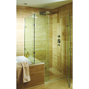 Wickes Vein Cut Beige Polished Travertine Wall & Floor Tile 150x610mm