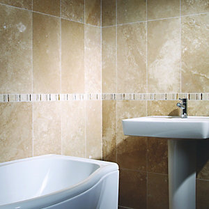 Wickes Beige Polished Travertine Wall & Floor Tile 406x406mm