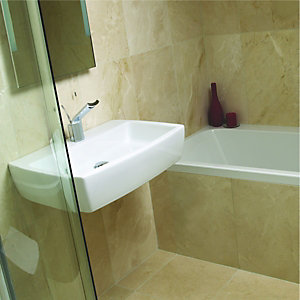 Wickes Crema Marfil Beige Polished Marble Wall & Floor Tile 305x457mm