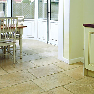 Wickes Cream Honed & Unfilled Chiselled Edge Travertine Wall & Floor Tile 400x600mm