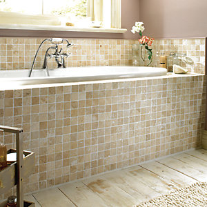 Wickes White Tumbled Travertine Mosaic Tile 305x305mm