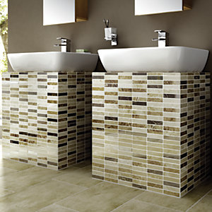 Wickes Milano Beige & Brown Polished Marble Brick Mosaic Tile 305x305mm