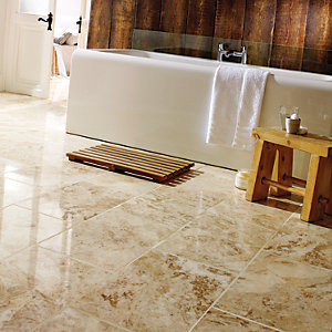 Wickes Beige Polished Marble Floor Tile 305x457mm