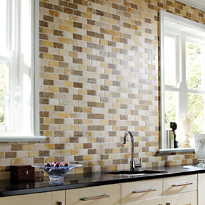 Wickes Yellow & White Tumbled Travertine Brick Mosaic Tile 305x305mm