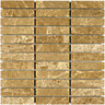 Wickes Brown Polished Marble Brick Mosaic Tile 305x305mm