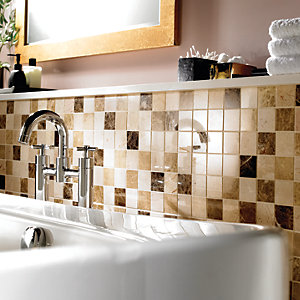 Wickes Emperador Beige & Dark Brown Polished Marble Mosaic Tile 305 x 305mm