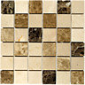 Wickes Emperador Beige & Dark Brown Polished Marble Mosaic Tile 305x305mm