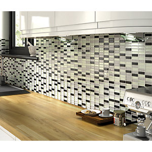 Wickes Glitter Black & Silver Gloss Glass Mosaic Tile Sheet 300 x 300mm