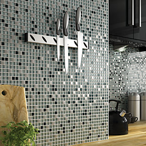 Wickes Glitter Black & Silver Gloss Glass & Metal Mix Mosaic Tile Sheet 308x300mm