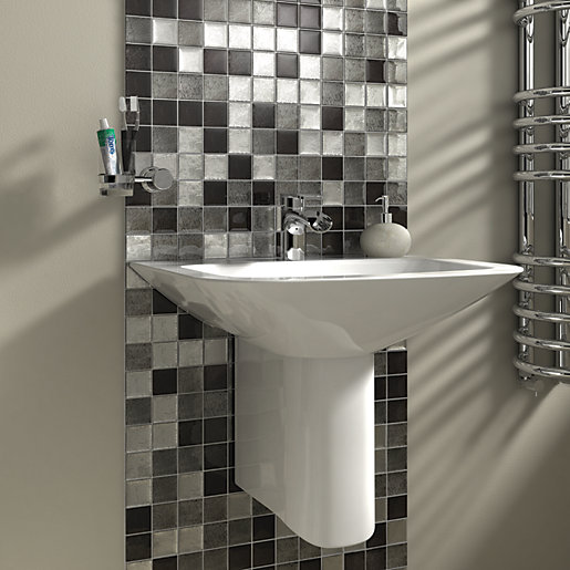 Bathroom Tiles Wickes : Wickes black silver leaf motif gloss glass mosaic tile