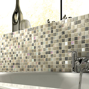 Wickes Emperador Brown & Cream Tumbled Glass & Stone Mix Mosaic Tile Sheet 300 x 305mm