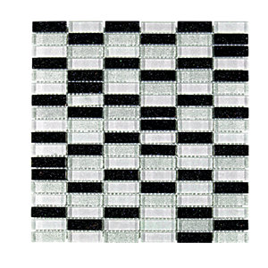 Wickes Glitter Black & Silver Glass Mosaic Tile Sheet 300x300mm