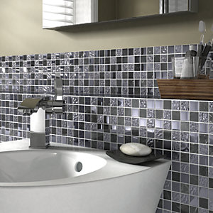 Wickes Black Gloss Stone Mix Mosiac Tile Sheet 300x300mm