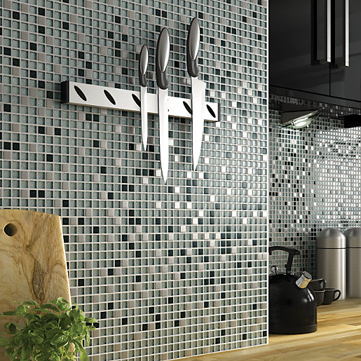 Wickes Glitter Black Amp White Glass Mix Mosaic Tile 308 X
