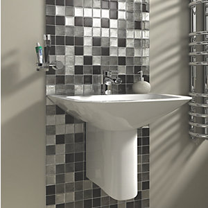 Wickes Black & Silver Leaf Glass Mosaic Tile 300x300mm
