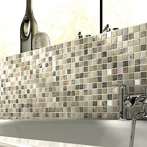 Wickes Emperador Brown & Cream Tumbled Stone Mix Mosaic Tile Sheet 300x300mm