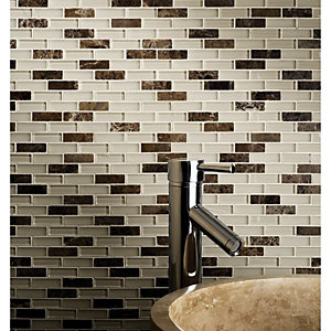Wickes Emperador Beige Stone & Glass Mix Mosaic Tile Sheet 308x330mm